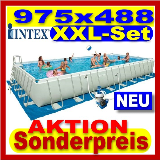 intex xxl komplett set pool 975 x 488 cm schwimmbecken ebay. Black Bedroom Furniture Sets. Home Design Ideas