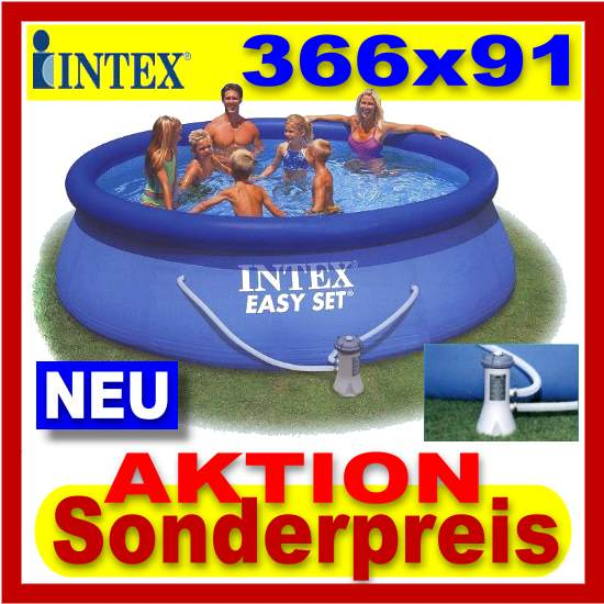 intex easy set quick up pool 366 x 91 cm piscine ensemble complet ebay. Black Bedroom Furniture Sets. Home Design Ideas