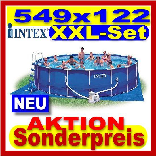 Intex stahlbecken pool set 549 x 122 cm schwimmbecken ebay for Pool stahlbecken