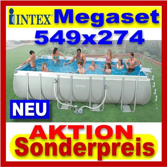 Intex stahlrohr becken pool 549 x 274 cm schwimmbecken for Schwimmbecken komplettset