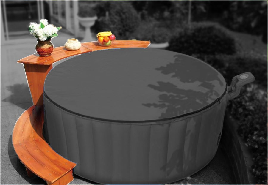 outdoor whirlpool jacuzzi bubble spa xxl luxus set holzset tisch einstieg ebay. Black Bedroom Furniture Sets. Home Design Ideas