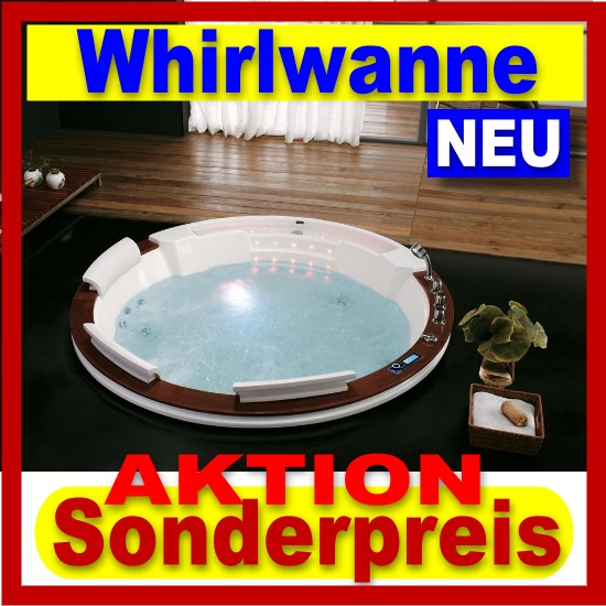 exclusiv runde luxus badewanne whirlwanne whirlpool u2603a mit echtholz neu ebay. Black Bedroom Furniture Sets. Home Design Ideas
