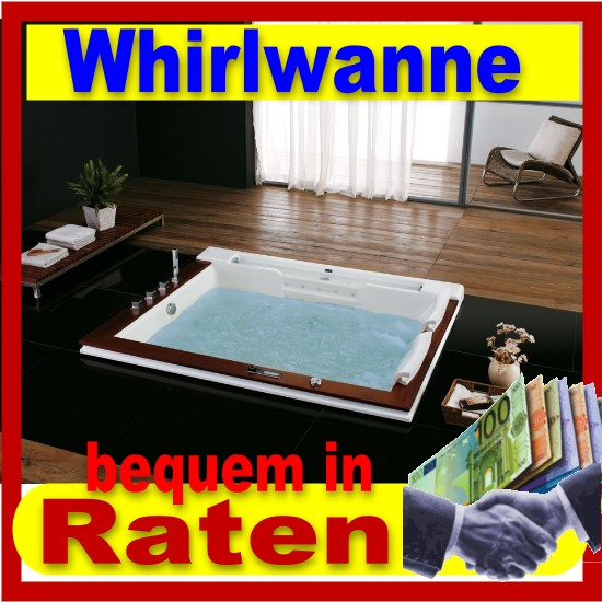 exclusiv luxus badewanne whirlwanne whirlpool u2607a mit echtholz neu. Black Bedroom Furniture Sets. Home Design Ideas