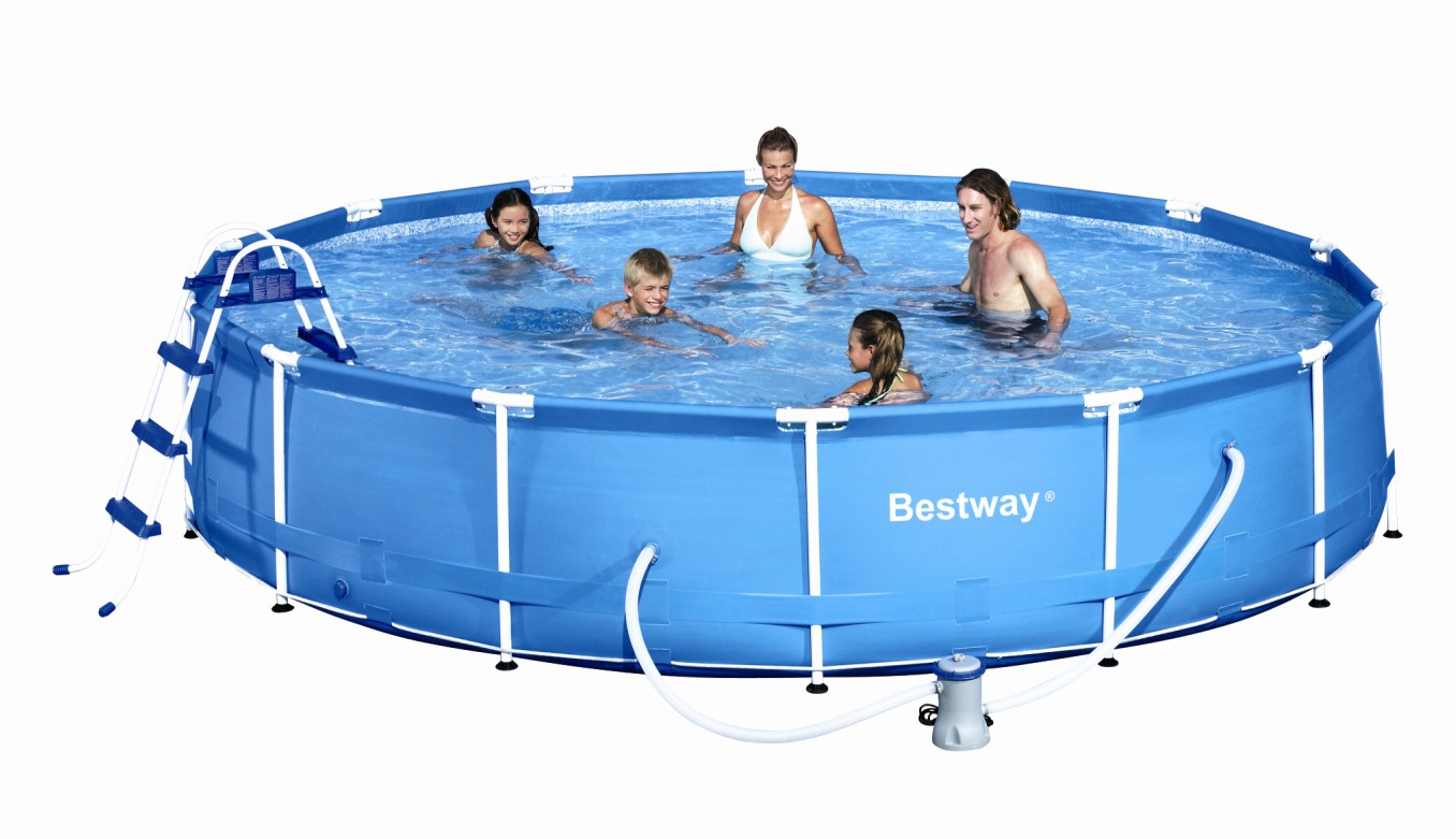 bestway metal frame pool komplett set 457x91 56066 ebay. Black Bedroom Furniture Sets. Home Design Ideas