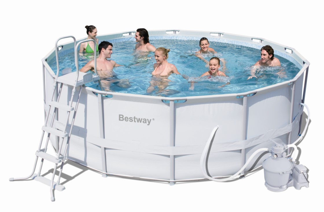 bestway steel pro pool set 427x122 mit sandfilter 56276. Black Bedroom Furniture Sets. Home Design Ideas