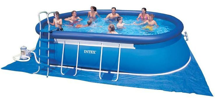 Intex swimming pool oval frame 366x610x122 eco 28194 gs for Pool aufstellbecken oval