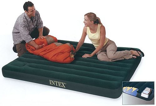 INTEX Luftbett Downy Queen + Fußpumpe 66929