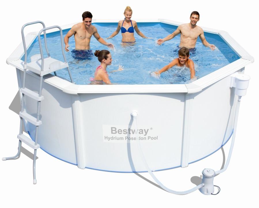 Bestway stahlwandpool set poseidon 366x122 filterpumpe for Garten pool 366x122