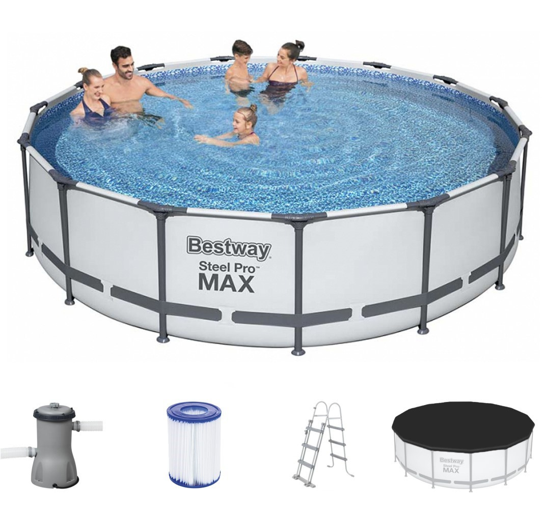 bestway metal frame pool komplett set 457x107 56488 ebay. Black Bedroom Furniture Sets. Home Design Ideas