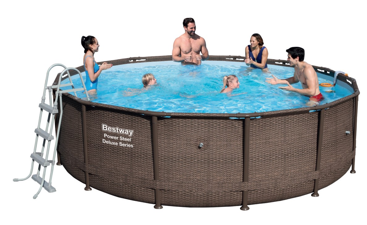 bestway power steel deluxe pool set 427x107 rattan 56664 ebay. Black Bedroom Furniture Sets. Home Design Ideas