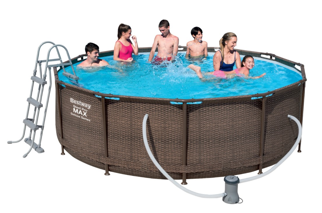 bestway steel pro pool set 366x100 rattan 56709 ebay. Black Bedroom Furniture Sets. Home Design Ideas